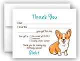 Corgi Dog Thank You Cards Note Card Stationery •  Fill In the Blank Stationery Thank You Cards - Everything Nice