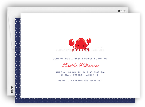 Crab Party Invitation • Baby Shower Birthday Picnic • Any Colors Kids Birthday Invitations - Everything Nice