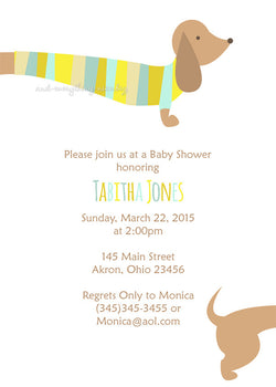 Dachshund Dog Party Invitation • Baby Shower Birthday • Any Colors Baby Shower Invitations - Everything Nice