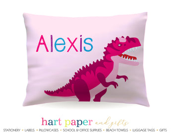 Pink Dinosaur Dino Personalized Pillowcase Pillowcases - Everything Nice
