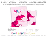 Dinosaur Pink Personalized Notebook or Sketchbook School & Office Supplies - Everything Nice