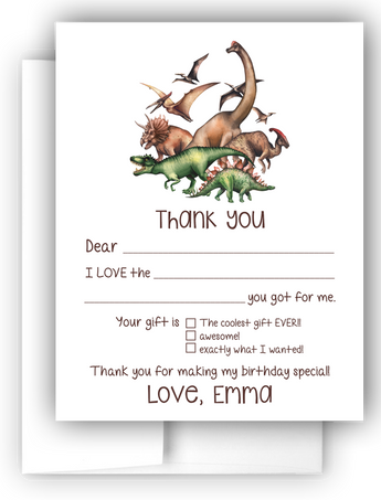 Dinosaur Thank You Cards Note Card Stationery •  Fill In the Blank Stationery Thank You Cards - Everything Nice