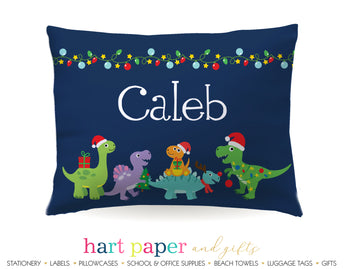 Christmas Dinosaur Dino Personalized Pillowcase Pillowcases - Everything Nice