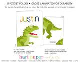 Dinosaur Dino T-Rex T Rex Personalized 2-Pocket Folder School & Office Supplies - Everything Nice
