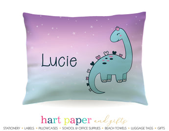 Girly Dinosaur Dino Personalized Pillowcase Pillowcases - Everything Nice