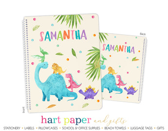 Girly Dinosaur Personalized Notebook or Sketchbook School & Office Supplies - Everything Nice
