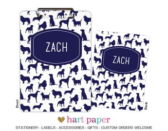 Dog Puppy Navy Blue Personalized Clipboard School & Office Supplies - Everything Nice