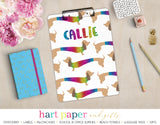 Rainbow Dachshund Dog Doxie Weiner Personalized Personalized Clipboard School & Office Supplies - Everything Nice