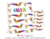 Rainbow Dachshund Dog Personalized Notebook or Sketchbook School & Office Supplies - Everything Nice