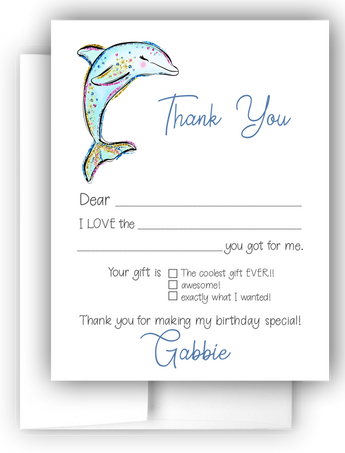 Dolphin Thank You Cards Note Card Stationery •  Fill In the Blank Stationery Thank You Cards - Everything Nice