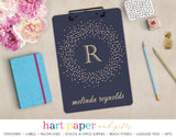 Blue, Rainbow Polka Dot Wreath Personalized Clipboard School & Office Supplies - Everything Nice