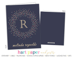 Navy Blue Polka Dot Wreath Monogram 2-Pocket Folder School & Office Supplies - Everything Nice