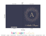Navy Blue Polka Dot Wreath Monogram Personalized 2-Pocket Folder School & Office Supplies - Everything Nice