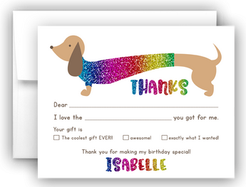 Rainbow Dachshund Dog Thank You Cards Note Card Stationery •  Fill In the Blank Stationery Thank You Cards - Everything Nice
