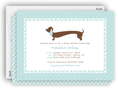 Blue Dachshund Dog Party Invitation O Baby Shower Birthday Any Colors