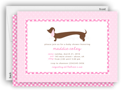 Pink Dachshund Dog Party Invitation • Baby Shower Birthday • Any Colors