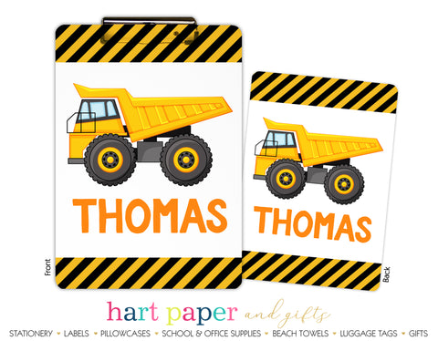 Dump Truck Personalized Clipboard School & Office Supplies - Everything Nice