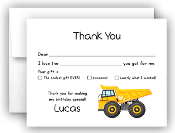 Dump Truck Thank You Cards Note Card Stationery •  Fill In the Blank Stationery Thank You Cards - Everything Nice
