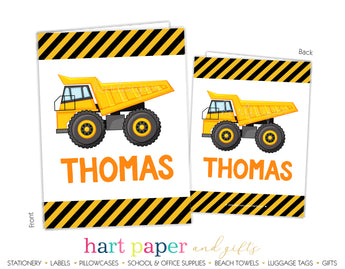Dump Truck Personalized 2-Pocket Folder School & Office Supplies - Everything Nice