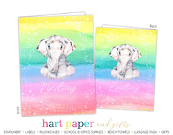 Elephant Rainbow Personalized 2-Pocket Folder School & Office Supplies - Everything Nice