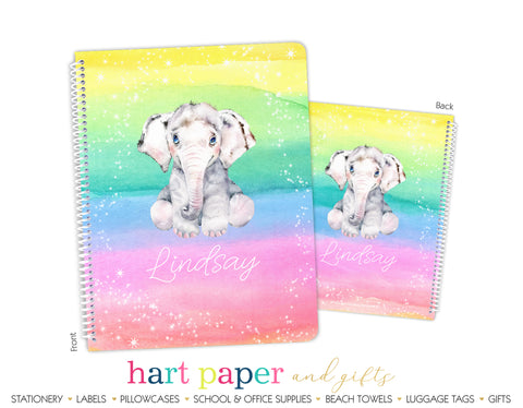 Elephant Rainbow Personalized Notebook or Sketchbook School & Office Supplies - Everything Nice
