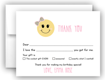 Emoji Thank You Cards Note Card Stationery •  Fill In the Blank Stationery Thank You Cards - Everything Nice