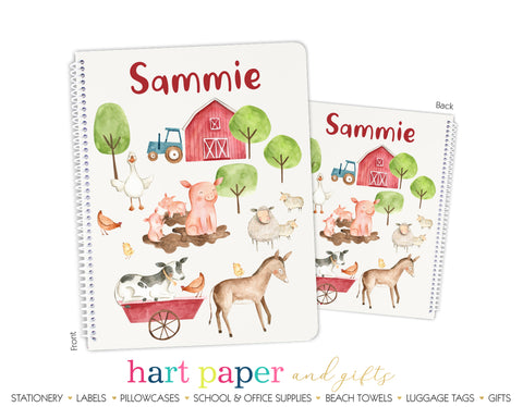Farm Animals Personalized Notebook or Sketchbook School & Office Supplies - Everything Nice
