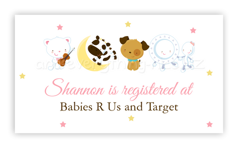 Hey Diddle Diddle Nursery Rhyme • Favor Tags or Registry Cards