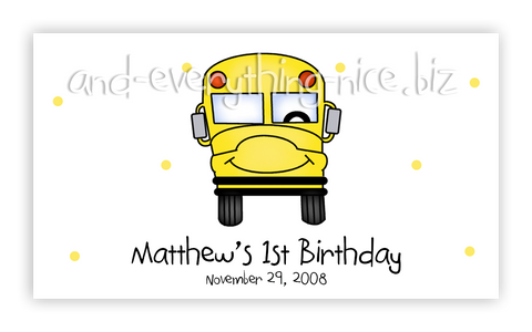 School Bus • Favor Tags or Registry Cards