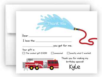 Firetruck Thank You Cards Note Card Stationery •  Fill In the Blank Stationery Thank You Cards - Everything Nice