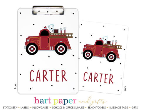 Firetruck Fire Truck Personalized Clipboard School & Office Supplies - Everything Nice