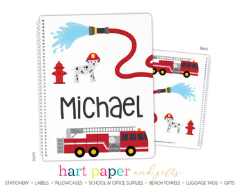Firetruck Personalized Notebook or Sketchbook
