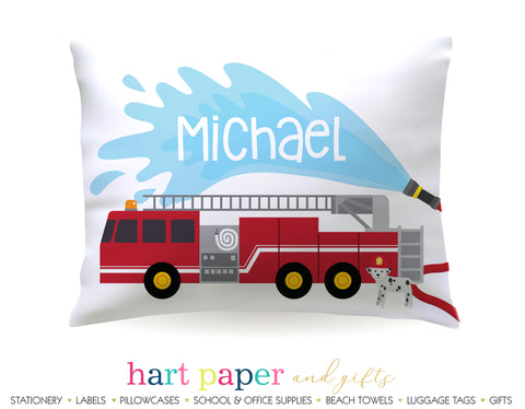 Firetruck Personalized Pillowcase Pillowcases - Everything Nice