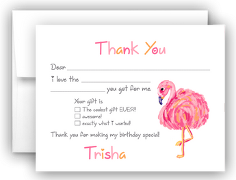 Pink Flamingo Thank You Cards Note Card Stationery •  Fill In the Blank Stationery Thank You Cards - Everything Nice