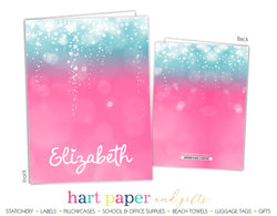 Pink Teal Sparkle Personalized 2-Pocket Folder
