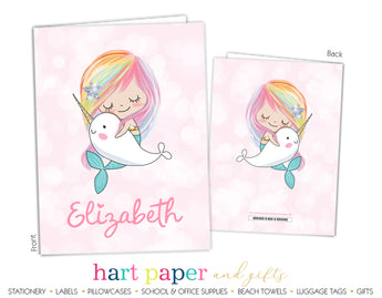 Rainbow Mermaid Narwhal Personalized 2-Pocket Folder School & Office Supplies - Everything Nice