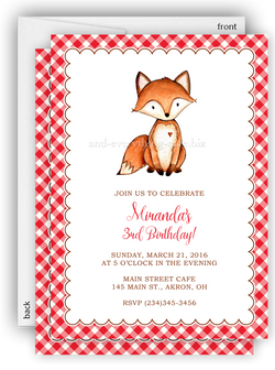 Fox Party Invitation • Baby Shower Birthday • Any Colors Baby Shower Invitations - Everything Nice