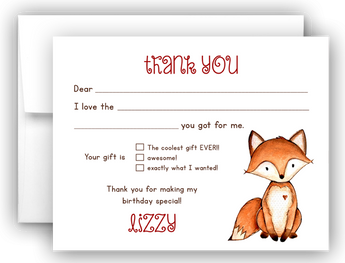 Fox Thank You Cards Note Card Stationery •  Fill In the Blank Stationery Thank You Cards - Everything Nice