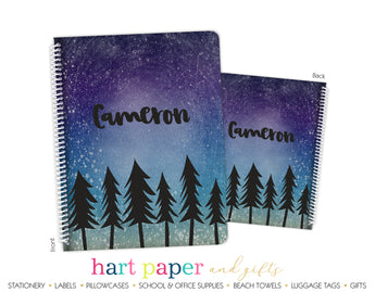 Galaxy Trees Stars Space Personalized Notebook or Sketchbook School & Office Supplies - Everything Nice