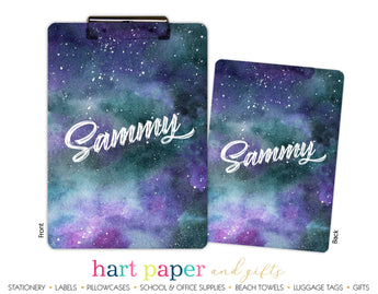 Space Galaxy Stars Sky Personalized Clipboard School & Office Supplies - Everything Nice