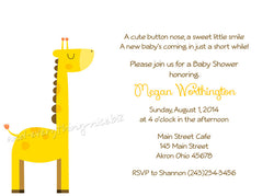 Sweet Giraffe Party Invitation • Baby Shower Birthday • Any Colors