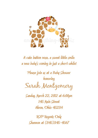 Giraffe Party Invitation • Baby Shower Birthday • Any Colors