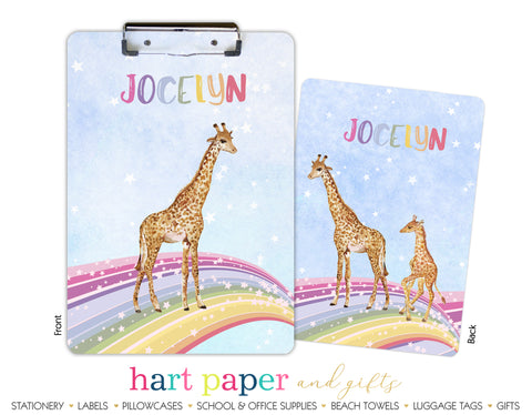 Rainbow Giraffe Personalized Clipboard School & Office Supplies - Everything Nice