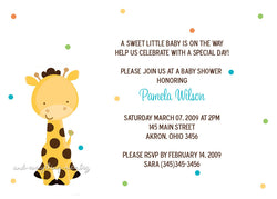 Polka Dot Giraffe Baby Shower Invitation • Any Colors Baby Shower Invitations - Everything Nice