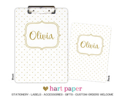 Gold Polka Dot Personalized Clipboard