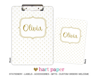 Gold Polka Dot Personalized Clipboard School & Office Supplies - Everything Nice