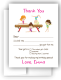 Gymnastics Thank You Cards Note Card Stationery •  Fill In the Blank Stationery Thank You Cards - Everything Nice