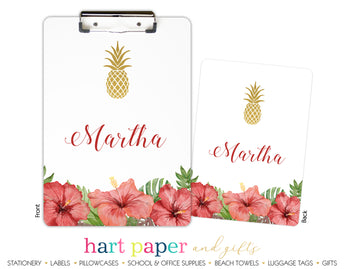 Pineapple Hibiscus Flower Hawaii Personalized Clipboard School & Office Supplies - Everything Nice