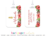Pineapple Hawaii Hibiscus Flowers Luggage Bag Tag