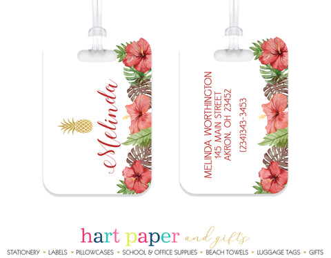 Pineapple Hawaii Hibiscus Flowers Luggage Bag Tag School & Office Supplies - Everything Nice
